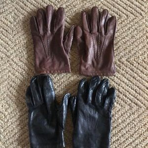 Other - BROWN + BLACK MENS Genuine leather gloves cashmere
